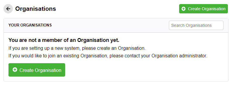 Create an organisation form